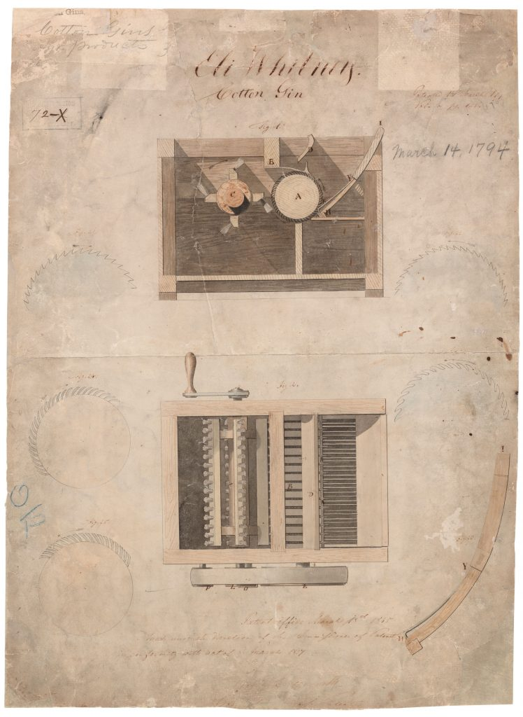 Original patent drawing submitted by Eli Whitney